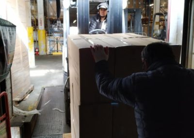 wokmon cartons being off-loaded